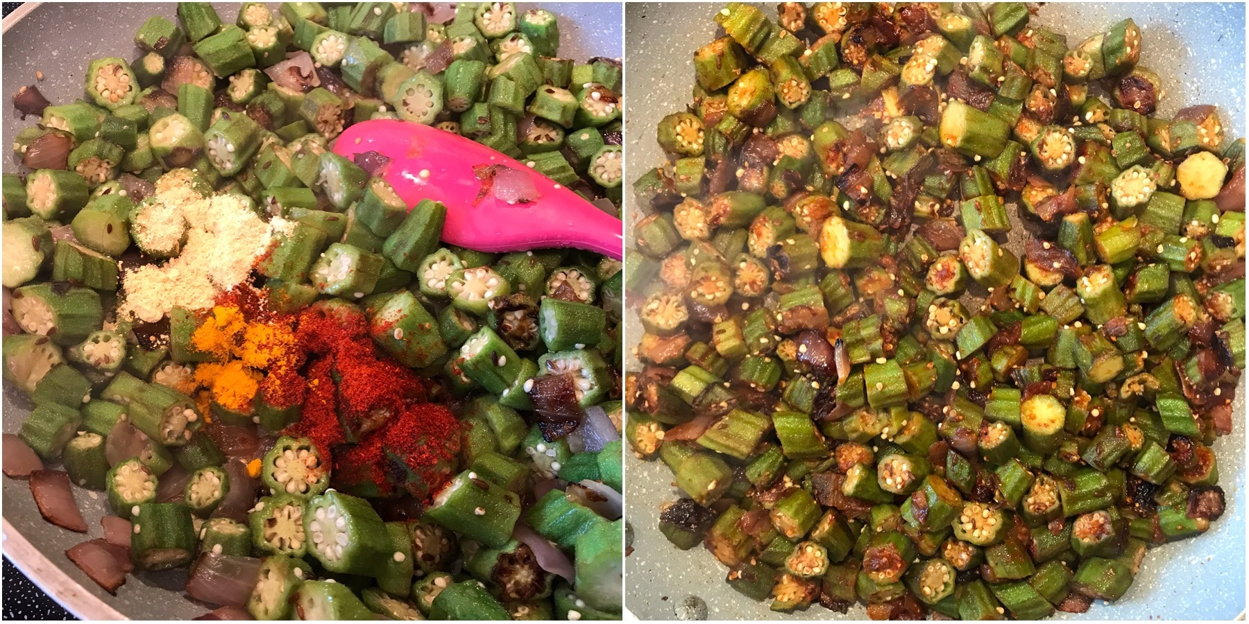 A bunch of different types of food, with Okra and Rice