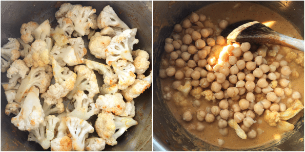 Cauliflower and chickpeas in Instant pot