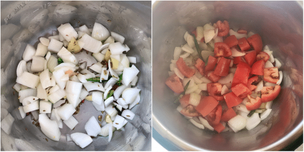 Onions and tomatoes are in Instant pot