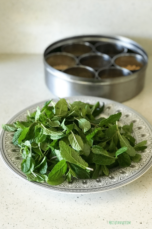 A plate of mint leaves for chutney