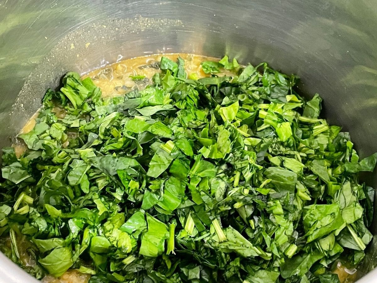 Close up of cooked dal and chopped spinach
