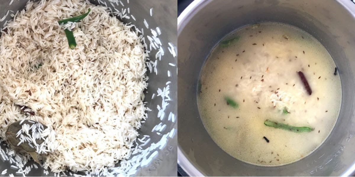 A pot is filled with basmati rice and water