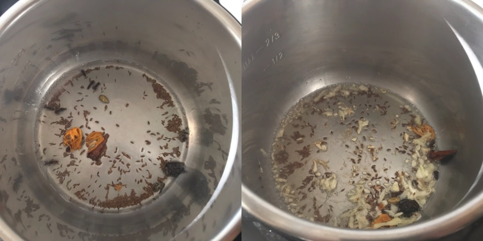 An instant pot filled with cumin seeds and oil