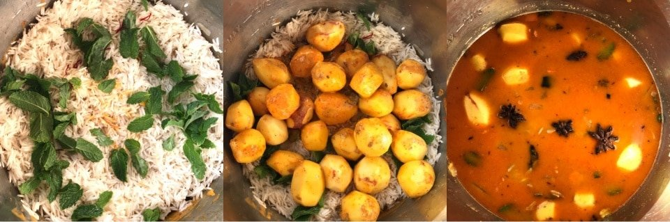 A pan filled with food, with Biryani and Potato