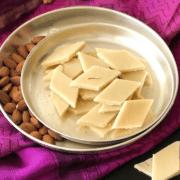Almond burfi on a plate