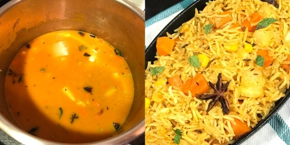 An instant pot filled with rice and vegetables with Biryani