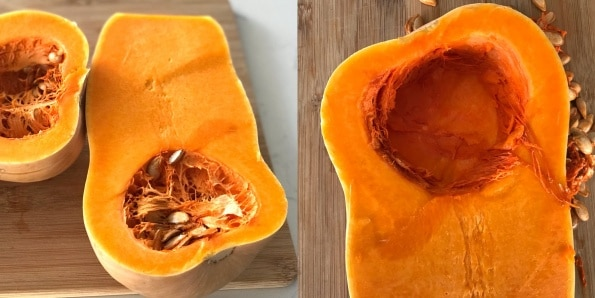 Butternut squash  sitting on top of a wooden table
