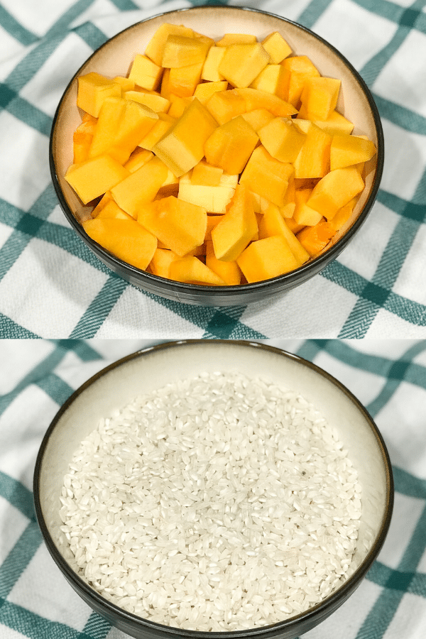 Bowl of Rice and bowl of butternut sqaush