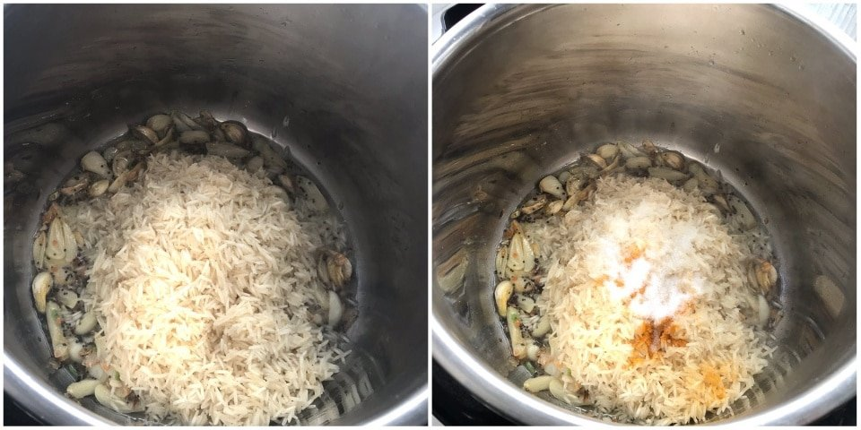 A pot filled with spices, rice, and Garlic