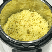 A Pot of food, with garlic rice