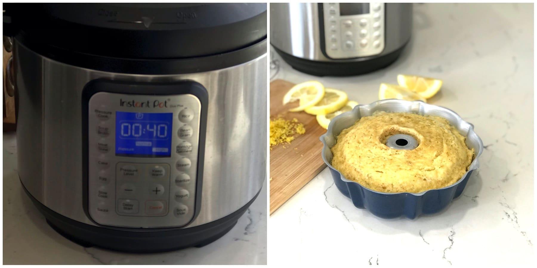 Instant pot and bundt Cake and sliced Lemon