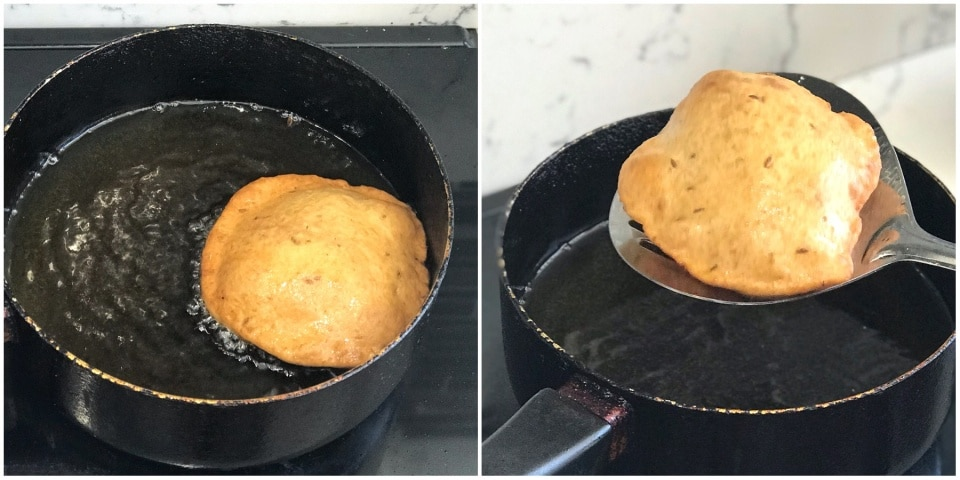 A pot with food in it, with Mangalore buns and Puri