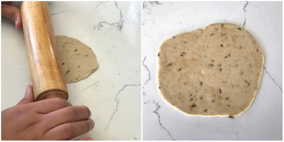 flattened dough on the flat surface