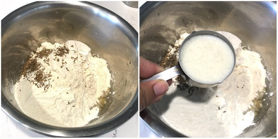 A pot with flour, milk in it, with Mangalore buns