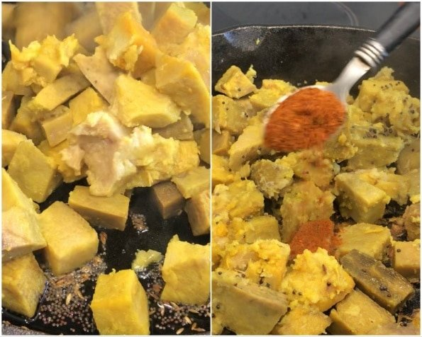 A bunch of different types of food, with Elephant Foot Yam and Poriyal