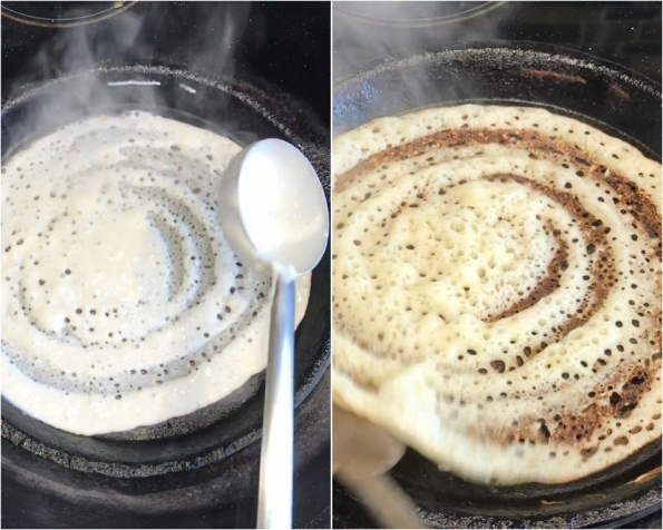 Dosa cooking in cast iron pan