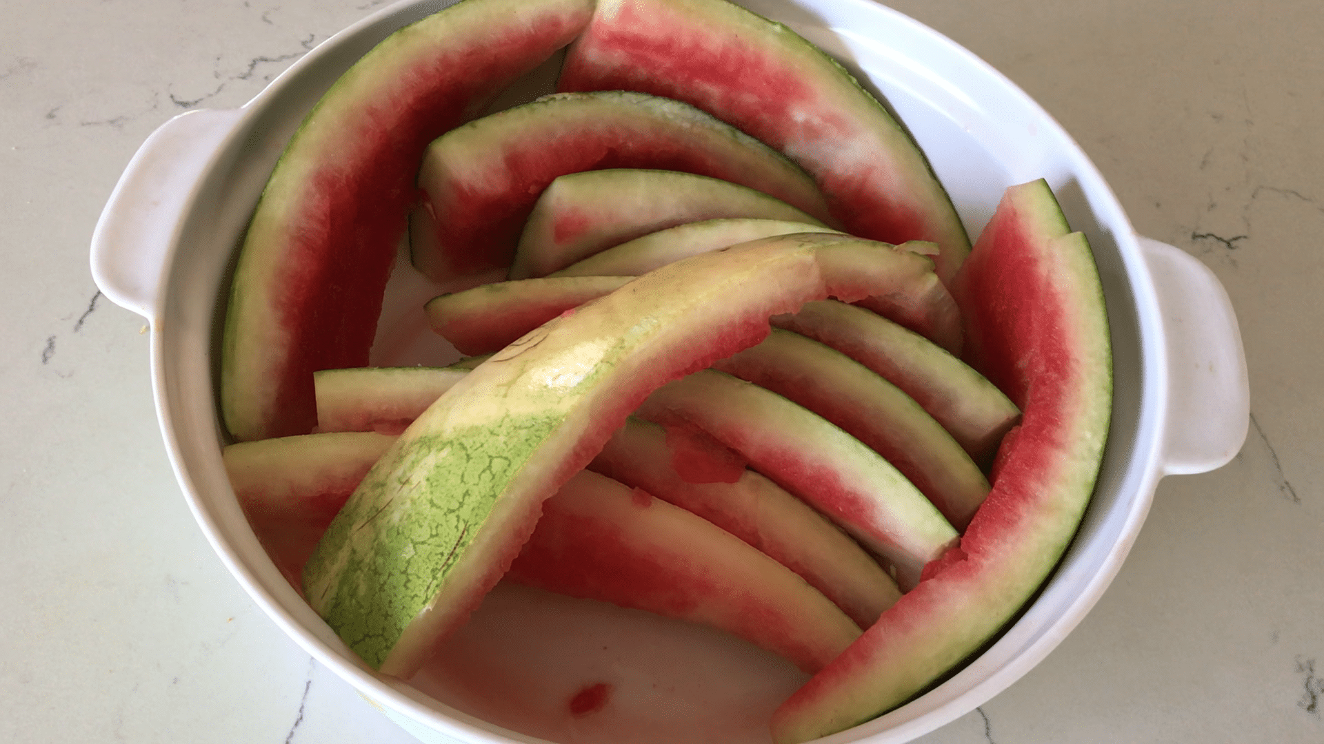 Watermelon rind is on the table