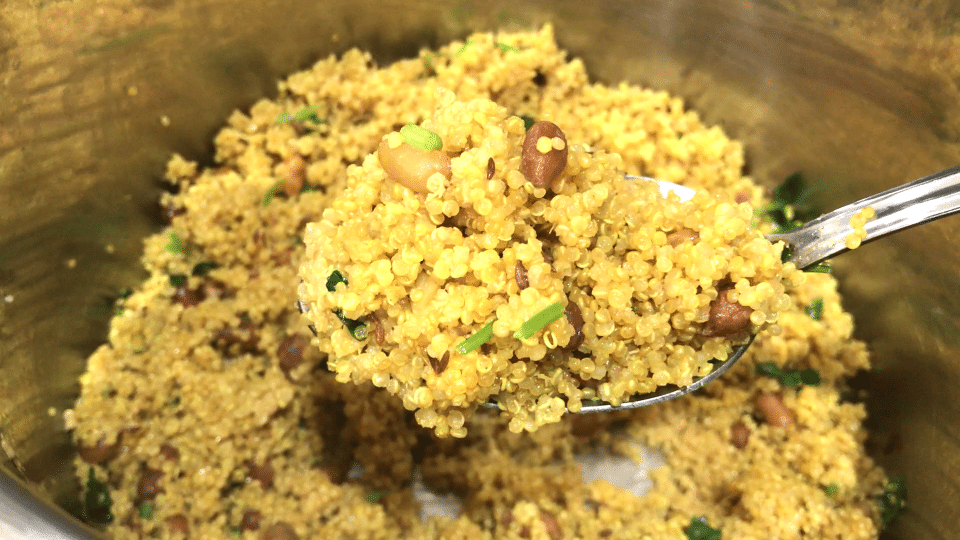 A close up of food, with Quinoa and Lemon