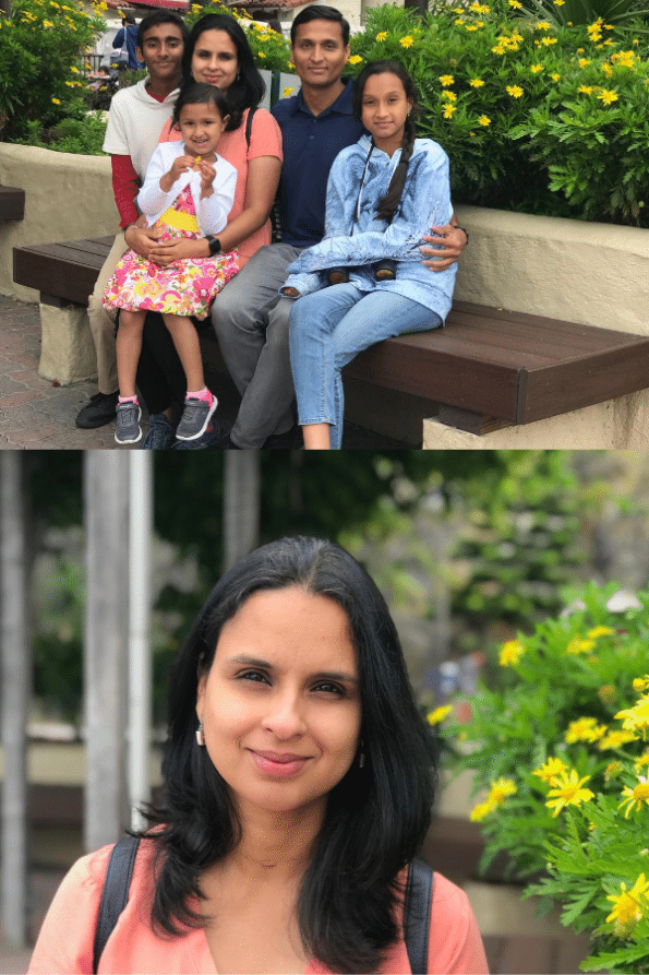Head shot of Uma Srinivas and her family