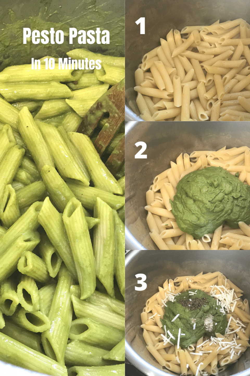 A box filled with different types of food, with Penne