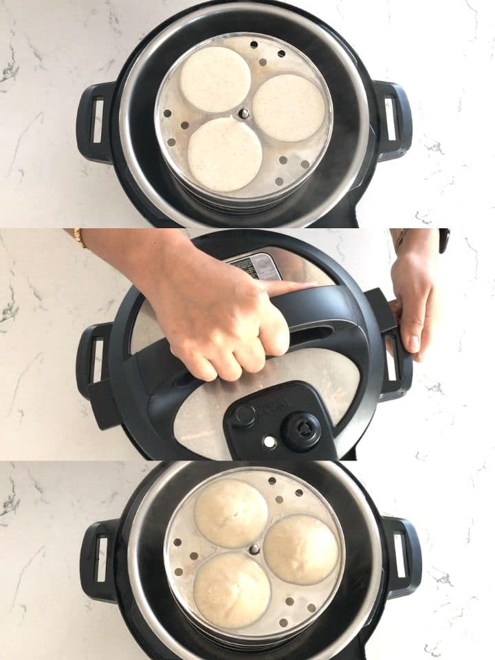 Using instant pot to steam millet idli