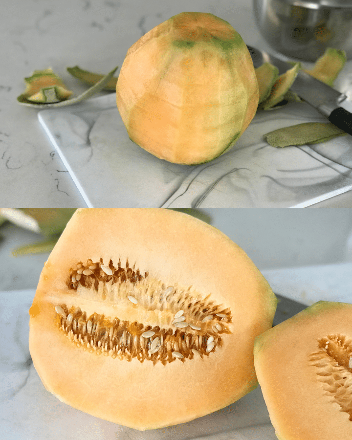 A melon and a plate of food on a table, with Cantaloupe