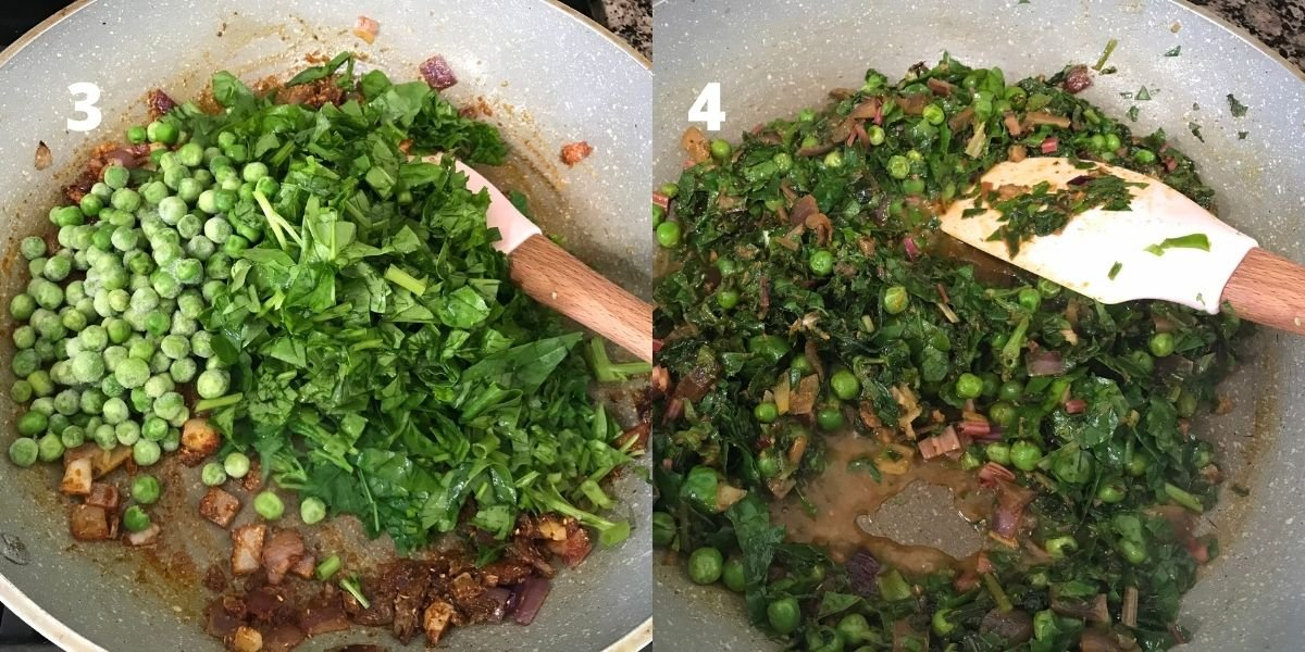 A pan is with frozen peas and spinach leaves over the heat