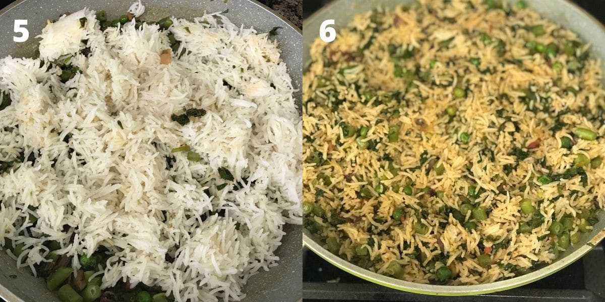 A pan is with palak rice over the heat