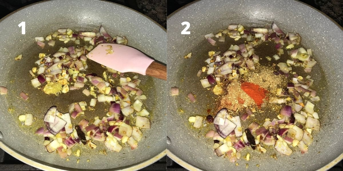 A pan is with oil, onion, ginger and garlic over the heat.