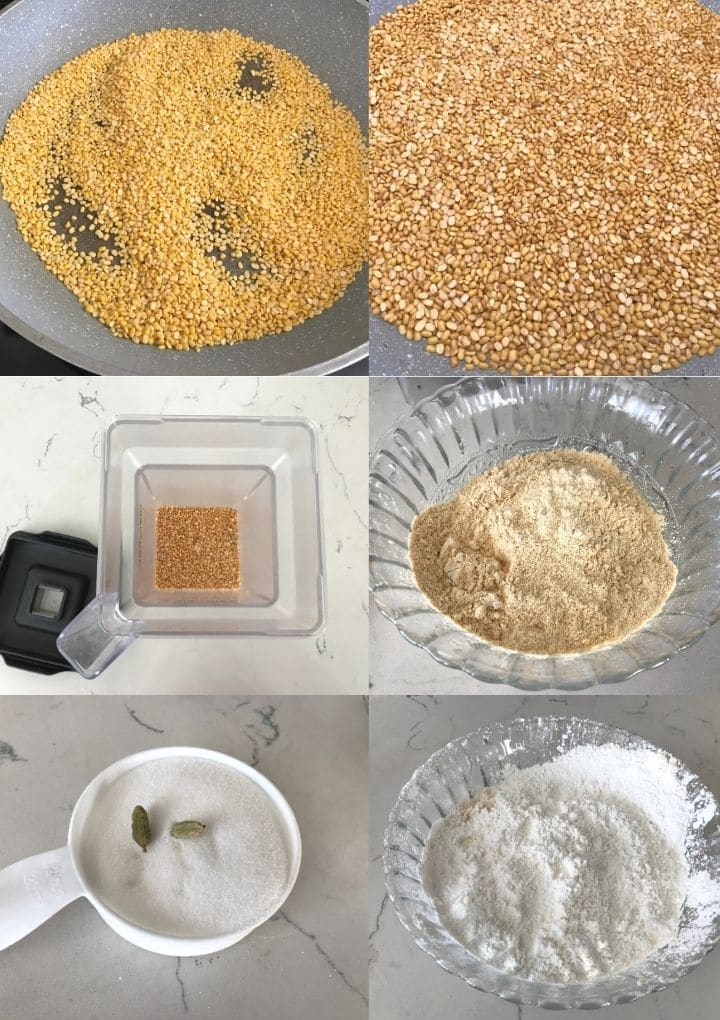 all the ingredients placed for moong laddus on the flat surface