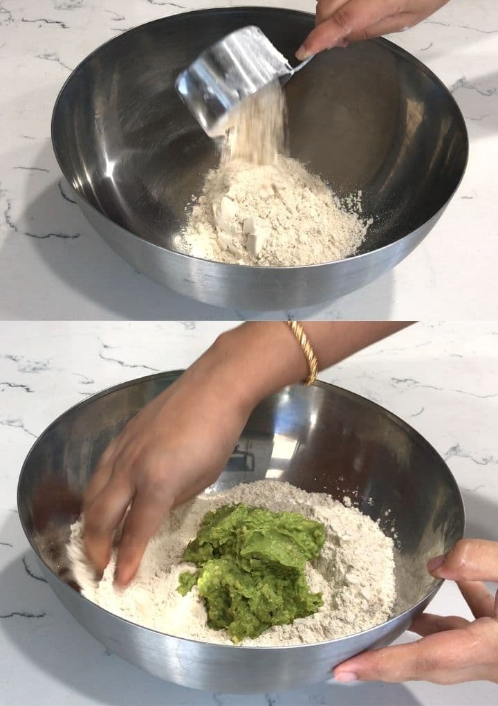 A bowl of wheat flour and mashed avocados