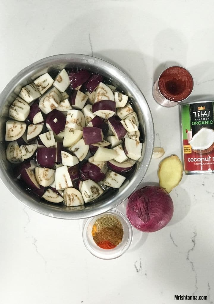Eggplant, onion, coconut milk and other ingredients are placed on the flat surface