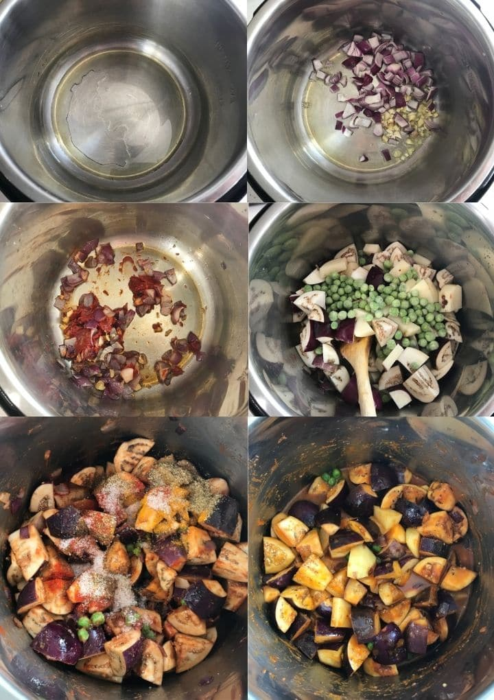 An instant pot filled with eggplant and other ingredients for curry
