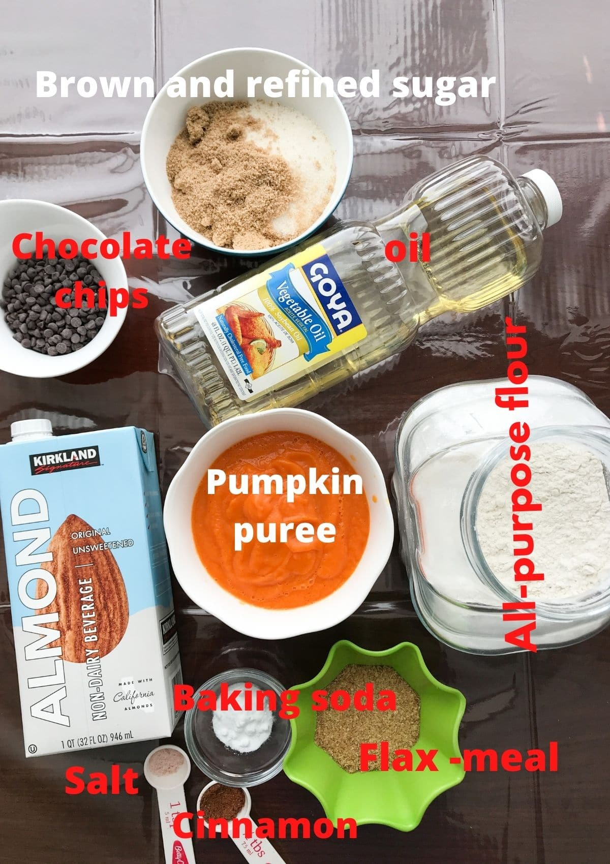 All the ingredients are placed on the table for pumpkin bread
