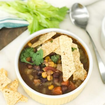 A bowl of vegan tortilla soup with chips on top