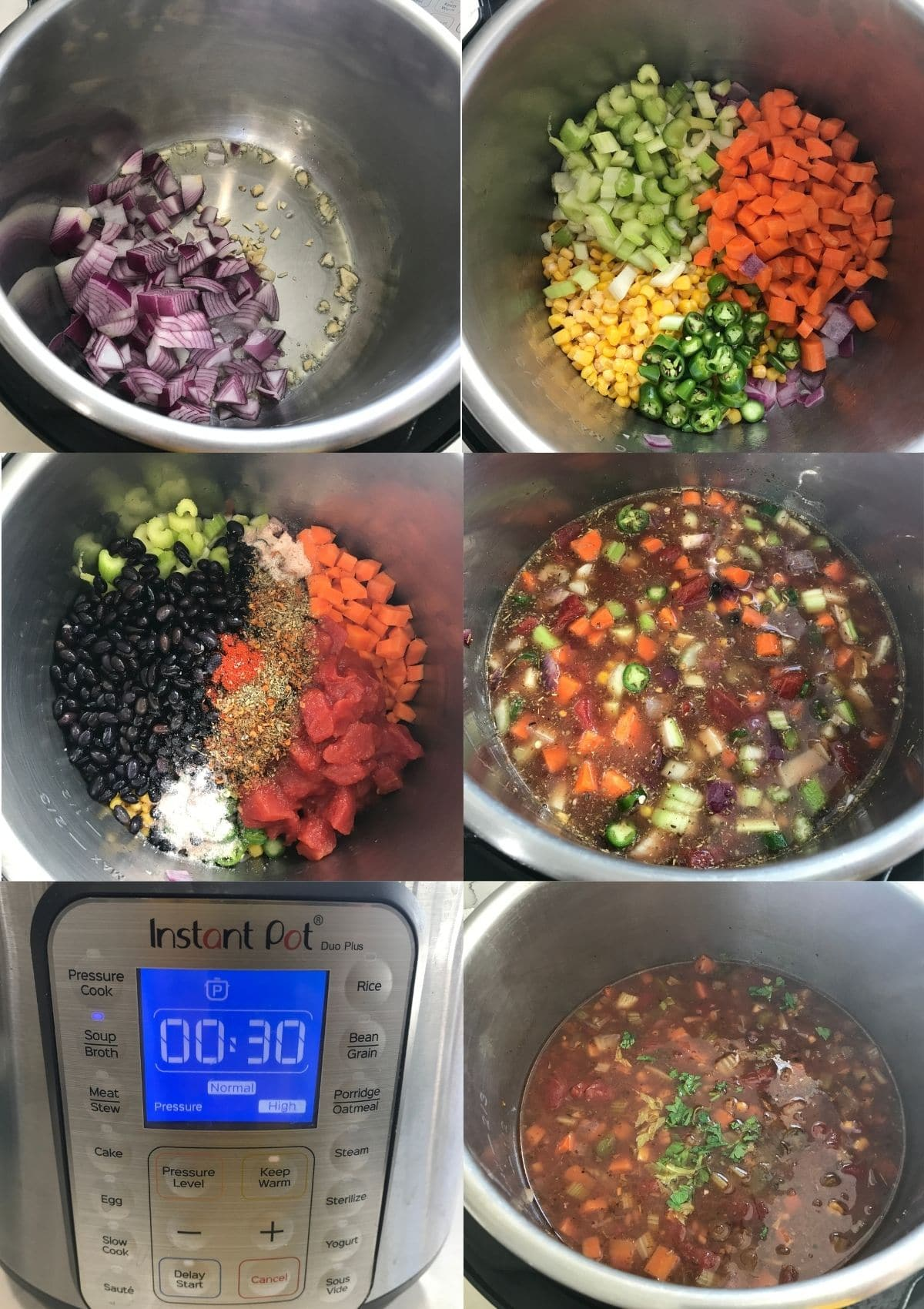 An instant Pot filled with all the ingredients for tortilla soup along with broth