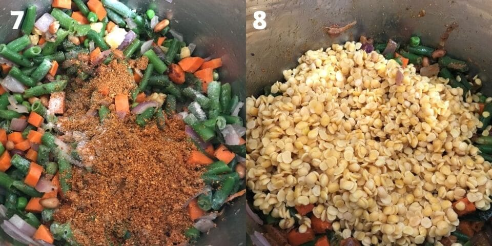 An instant pot with lentils and vegetables