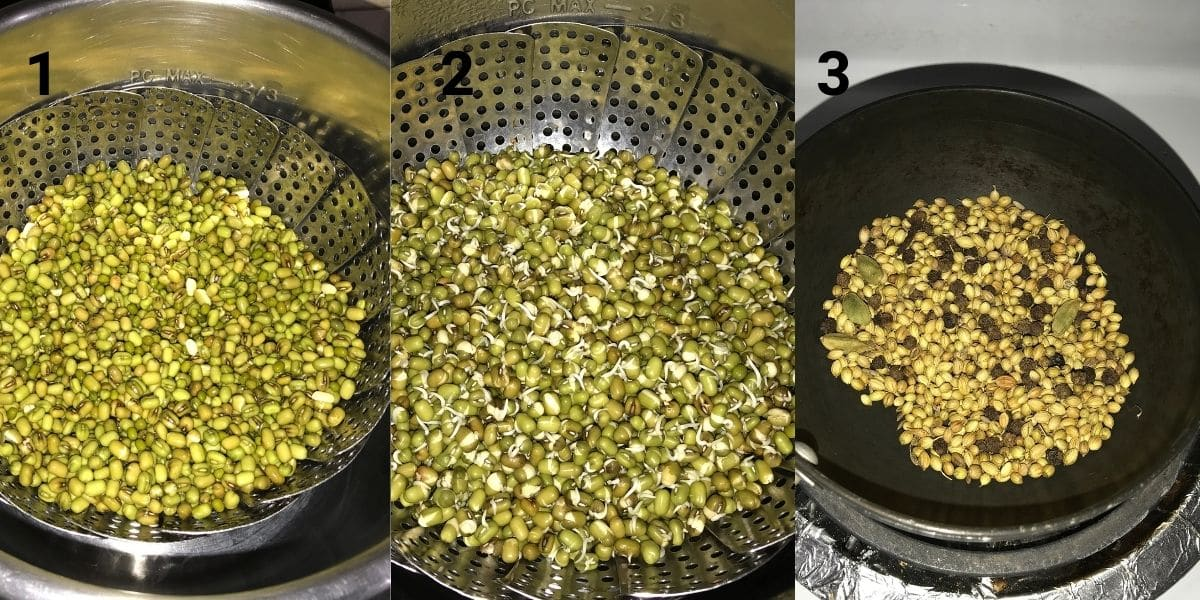 Mung beans are placed inside the steamer