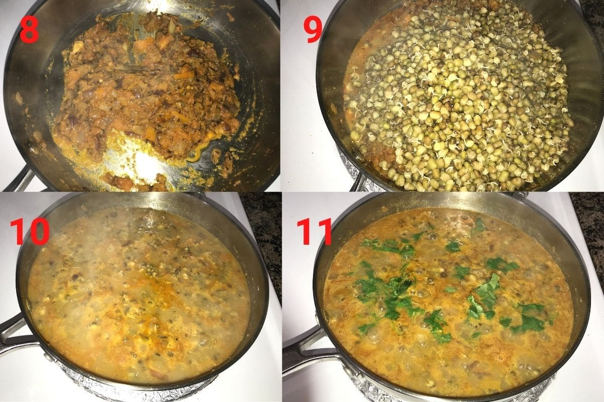 A pan with spices, mung bean and cilantro