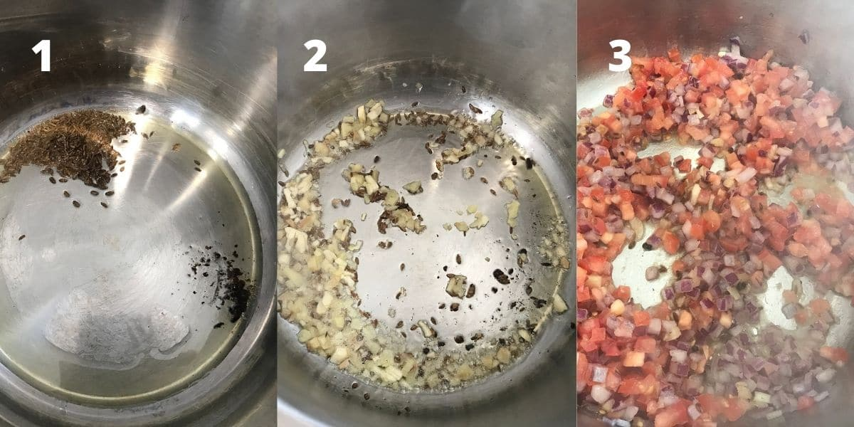An instant pot filled with oil, cumin seeds, onions and tomatoes
