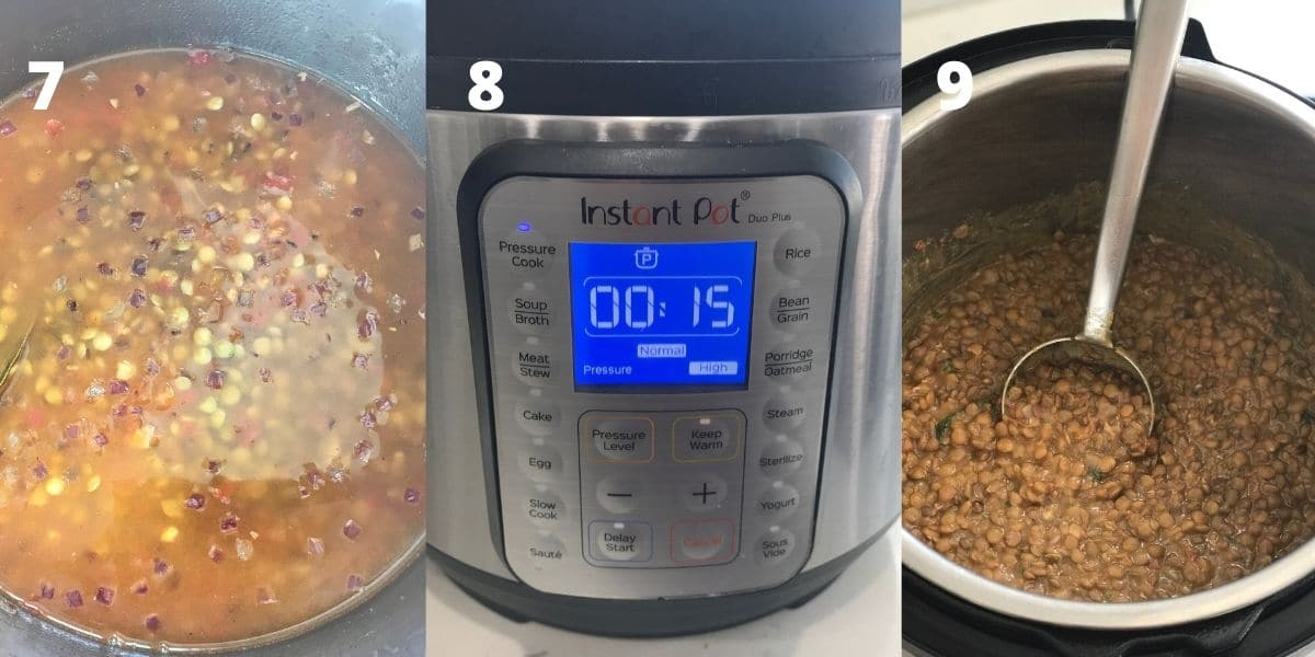 An instant pot is with lentil curry