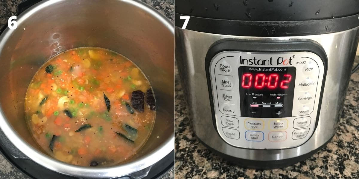 Pressure cooker filled with quinoa and water