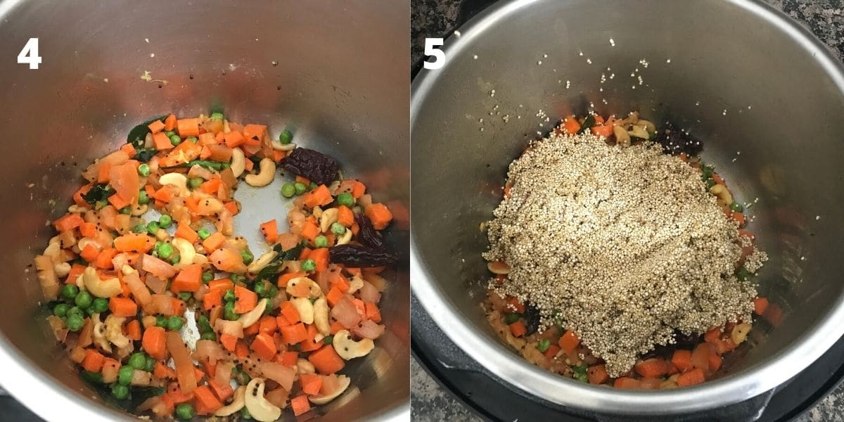 An instant pot filled with carrots and rinsed quinoa