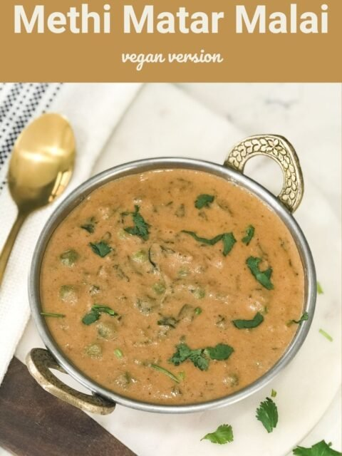 Methi matar masala is placed over the copper bowl and it is topped with cilantro