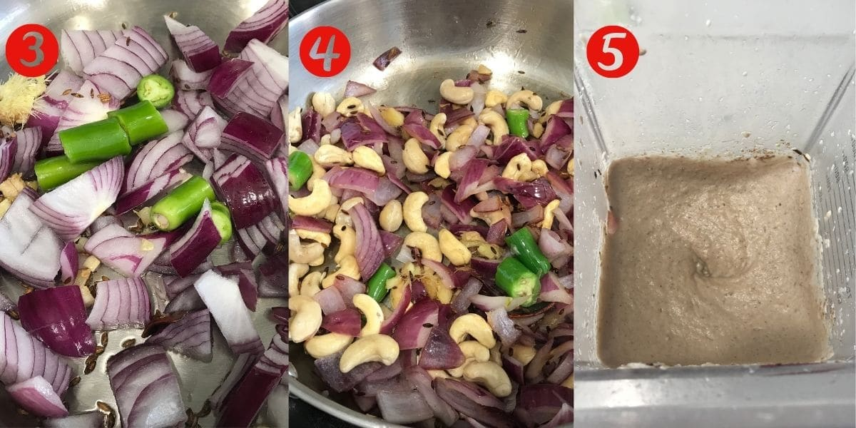 A pan is with onions, ginger and garlic and over the heat