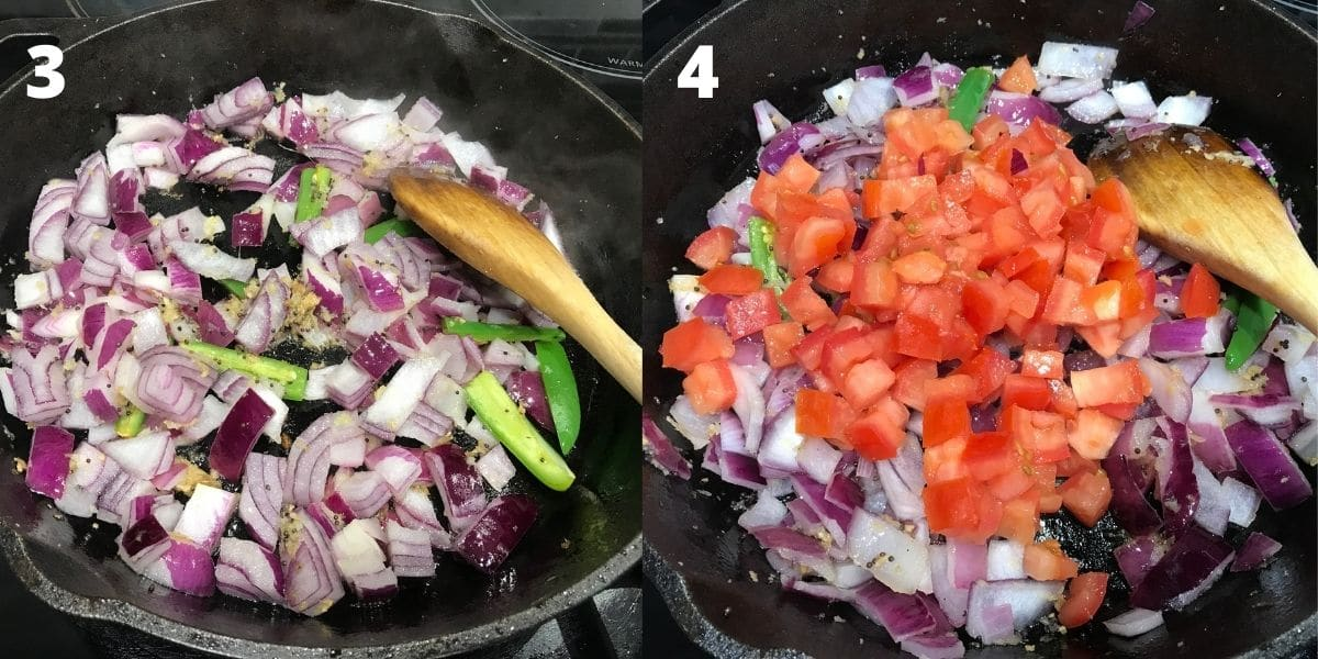 A cast iron pan is filled with chopped onions and tomatoes over the heat