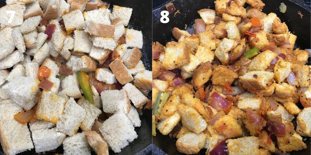 A pan is with pieces of bread and vegetables over the medium heat