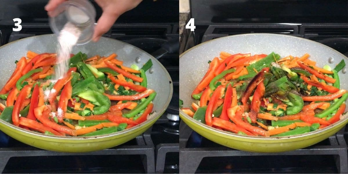 A pan with vegetables, salt, soy sauce and chili paste over the heat