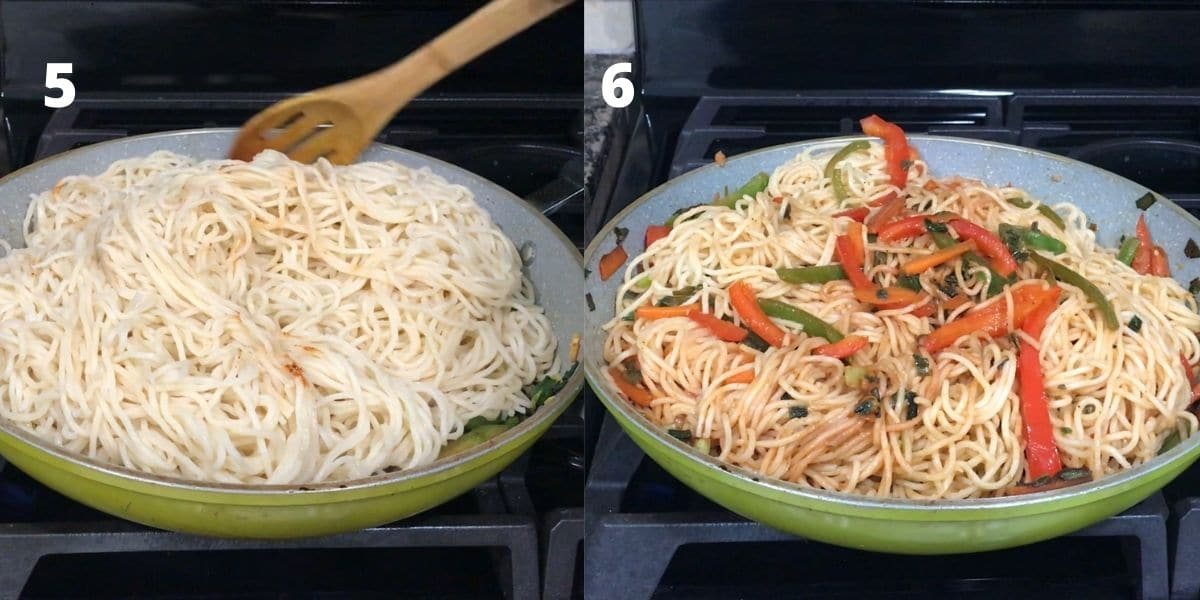 A pan with noodles and vegetables over the medium heat