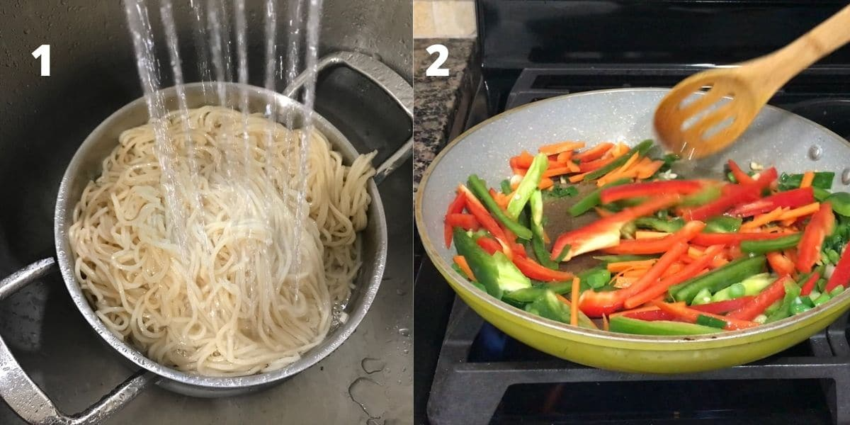 a pan with vegetables for hakka noodles recipe